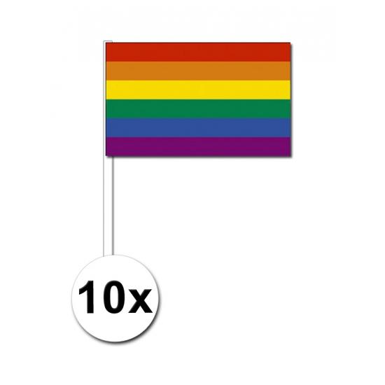 10 handvlaggen regenboog 12 x 24 cm