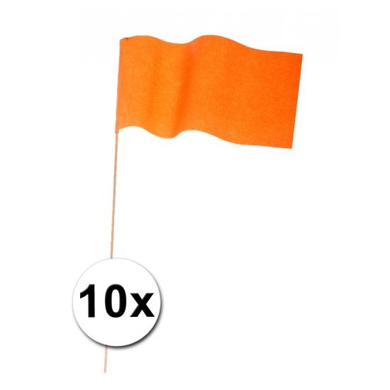 10 papieren zwaaivlaggetjes oranje