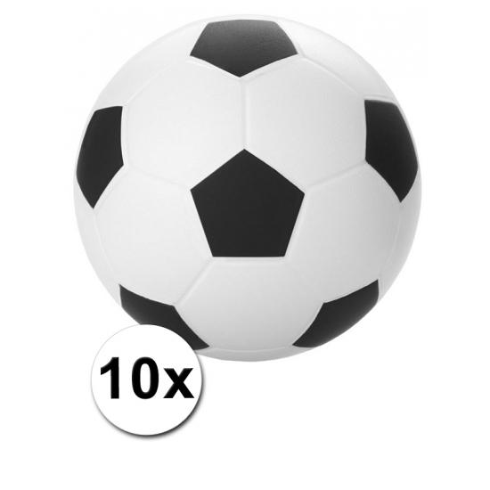 10 voetbal stressballetjes 6 cm