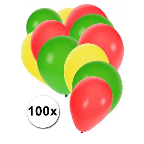100 Ballonnen rood/geel/groen