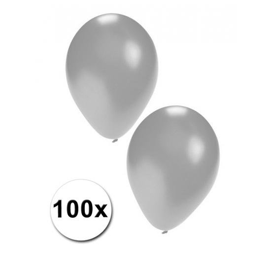 100 latex ballonnen zilverkleurig