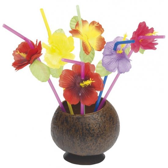 12 drinkrietjes met bloemen
