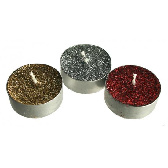 12 glitter kaarsjes waxine