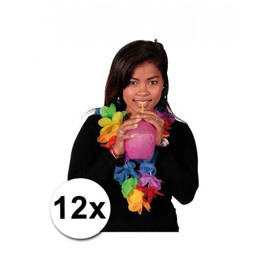 12 Hawaii feest kransen gekleurd