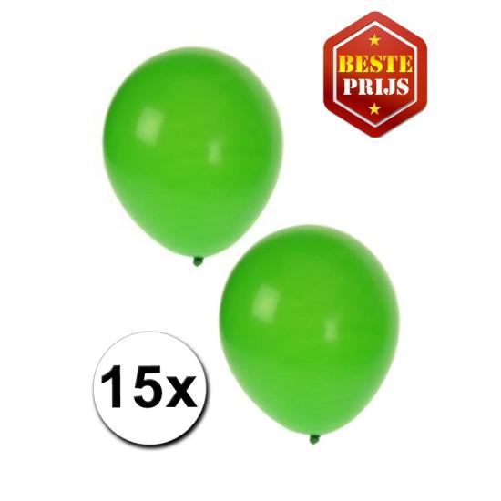 15 Party ballonnen groen gekleurd
