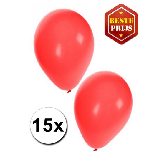 15 Party ballonnen rood gekleurd