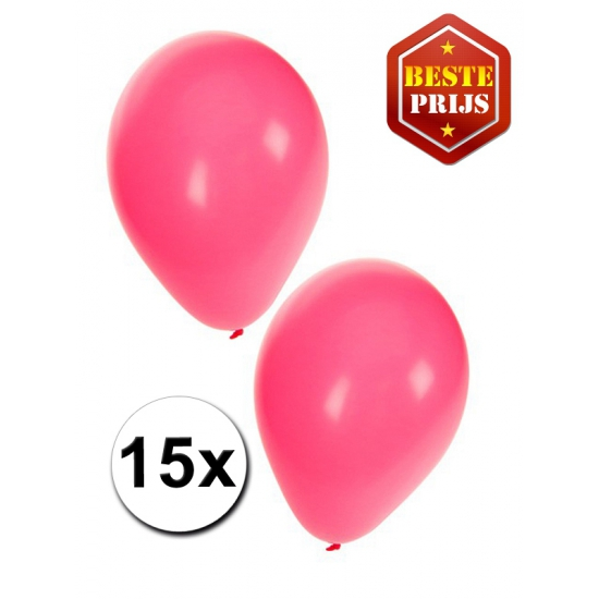 15 Party ballonnen roze gekleurd