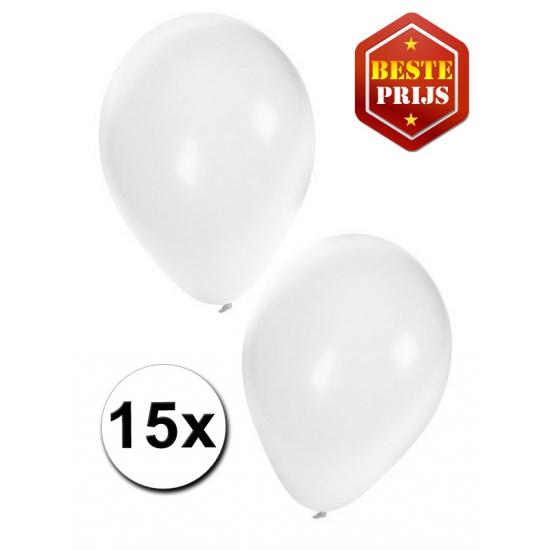 15 Party ballonnen wit gekleurd