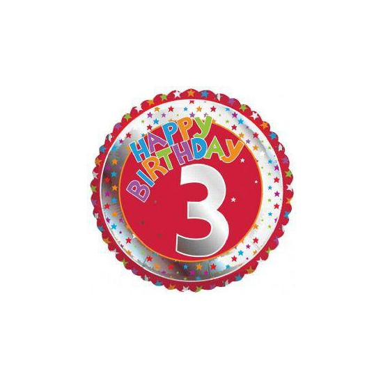 3 jaar helium ballon Happy Birthday