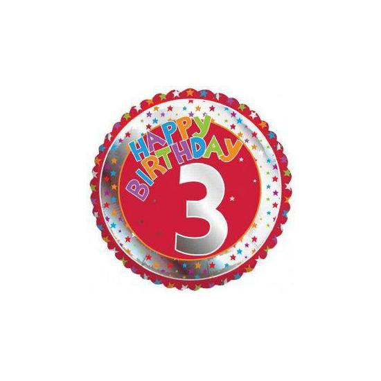 3 jaar helium ballon Happy Birthday