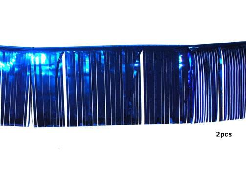 3 meter lange glitter slingers blauw 2 stuks