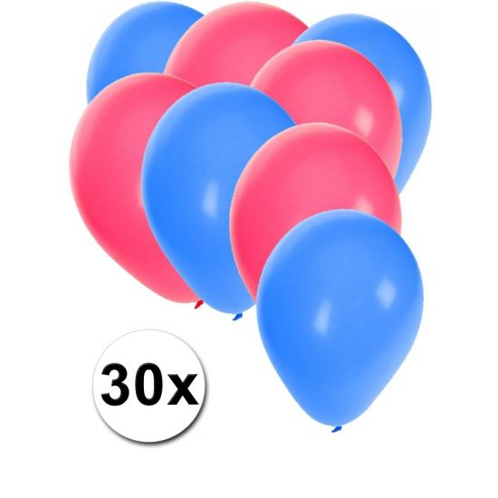 30 ballonnen blauw en roze