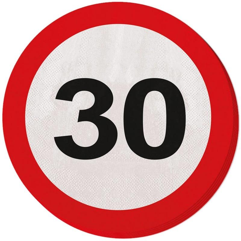 30 jaar servetten verkeersbord