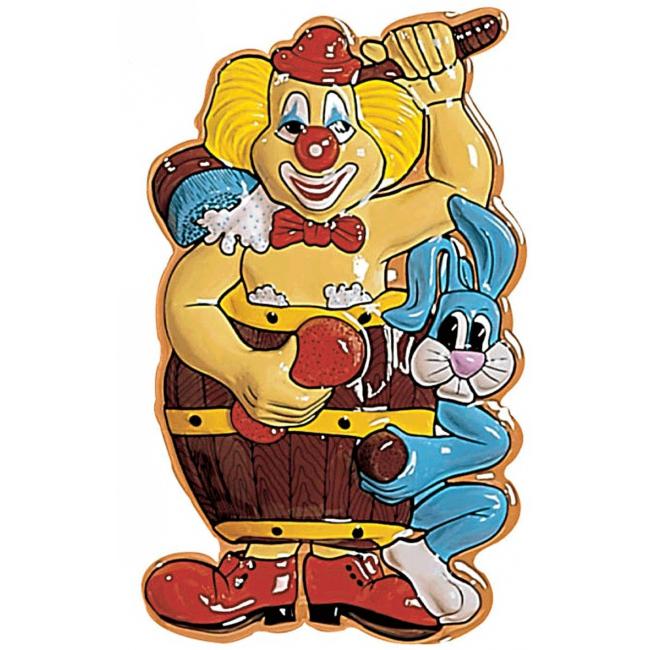 3D plaat met clown in ton