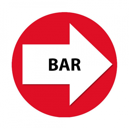 4 stuks rode pijl en Bar sticker