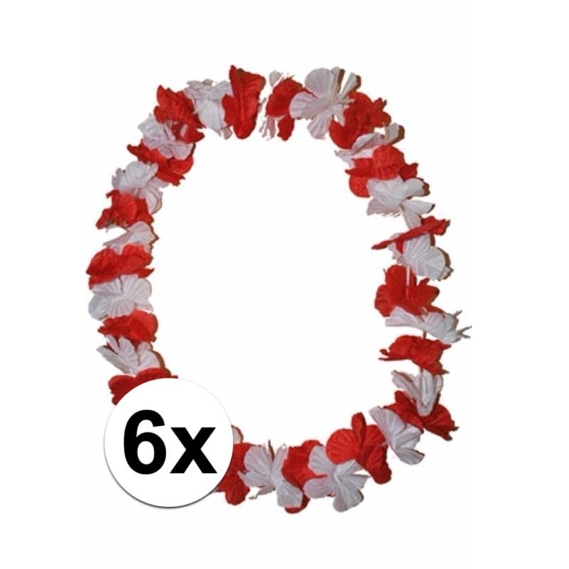 6 Hawaii kransen rode en witte bloemen
