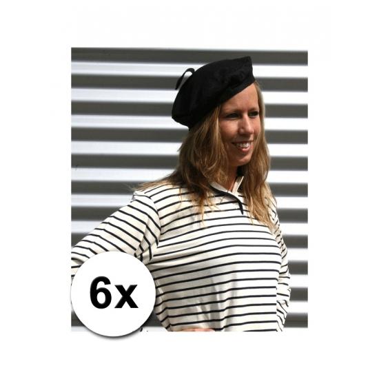 6 zwarte baretten volwassenen 59 cm