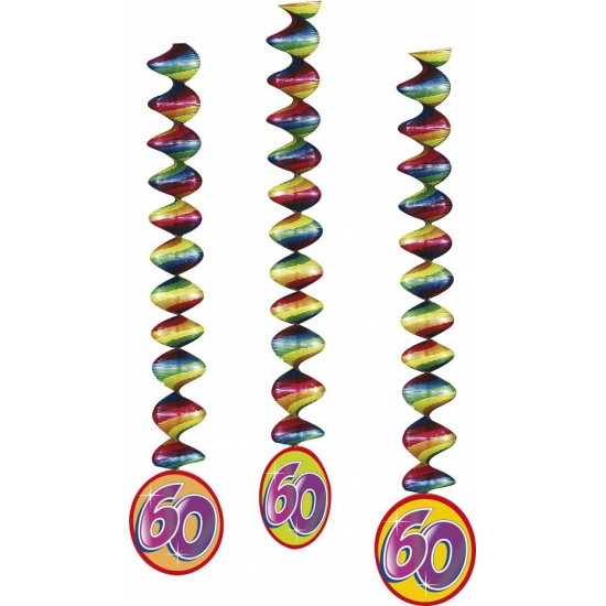 60 jaar decoratie spiralen 3x