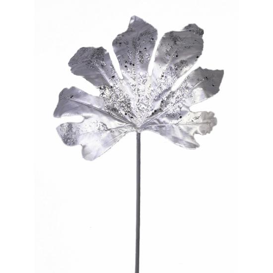 Aralia glitter blad zilver 55 cm