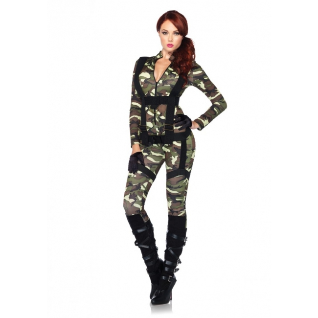 Army bodysuit met harnas voor dames