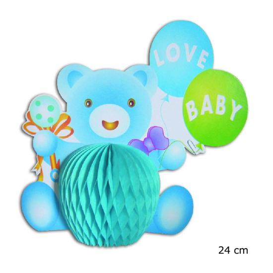 Baby beertje tafeldecoratie lichtblauw