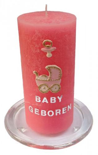 Baby geboren roze kaars maken 15 cm