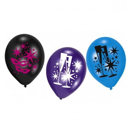 Ballonnen met champagneglazen 6 stuks