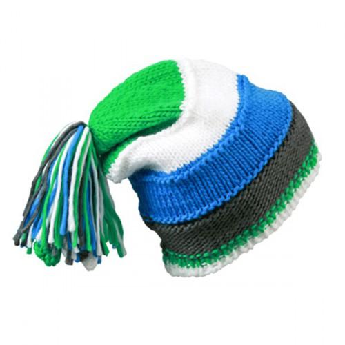 Beanie muts blauw  groen en wit