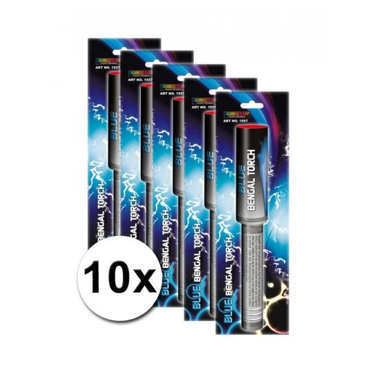 Bengaalse vuurwerk fakkels set blauw 10 x