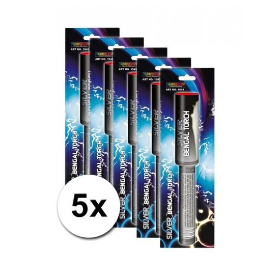 Bengaalse vuurwerk fakkels set zilver 5 x