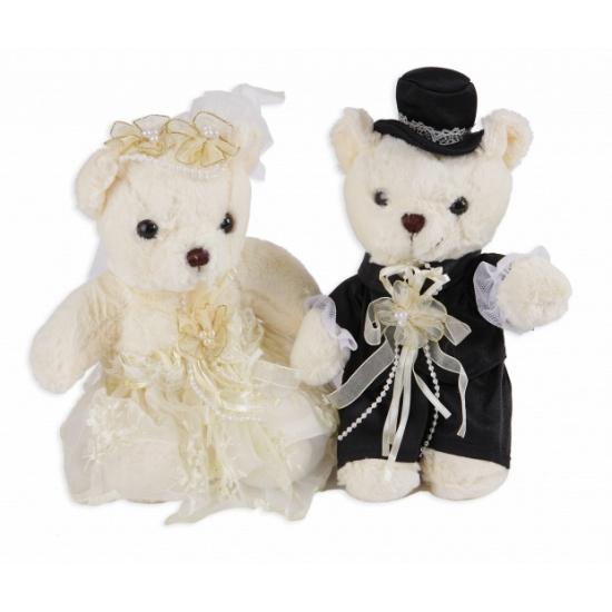 Beren bruidspaar knuffel setje 22 cm