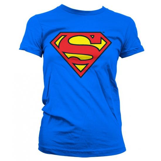 Blauw girly t shirt Superman logo