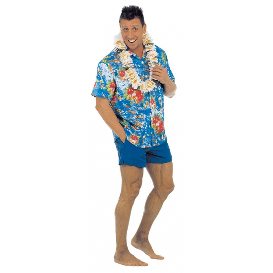 Blauwe Hawaii blouse voor volwassenen