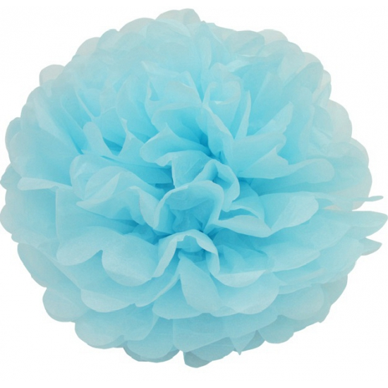 Blauwe pompom versiering 35 cm