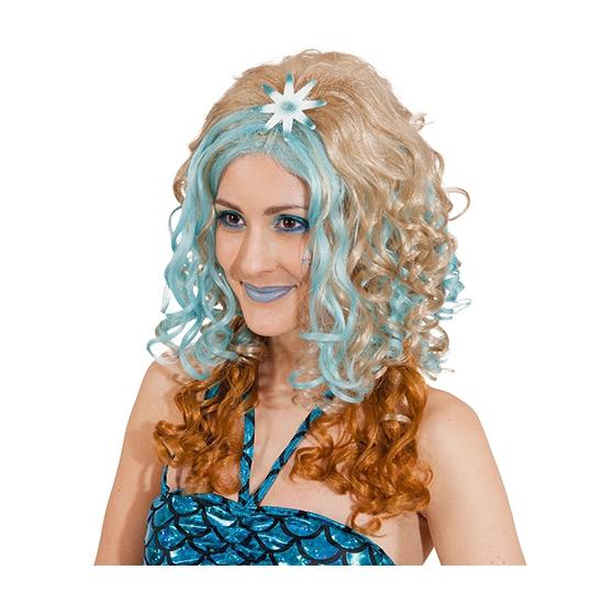 Blonde damespruik met blauwe plukken