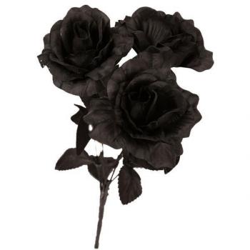 Boeket met 3 zwarte rozen