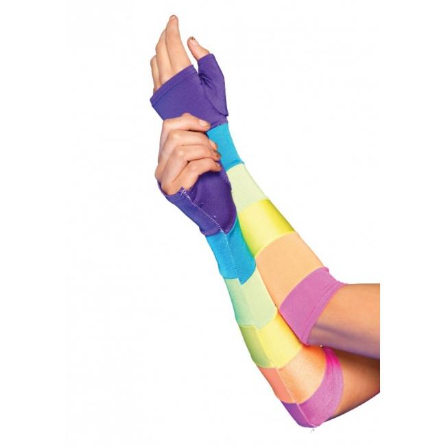 Breed gestreepte regenboog handschoenen