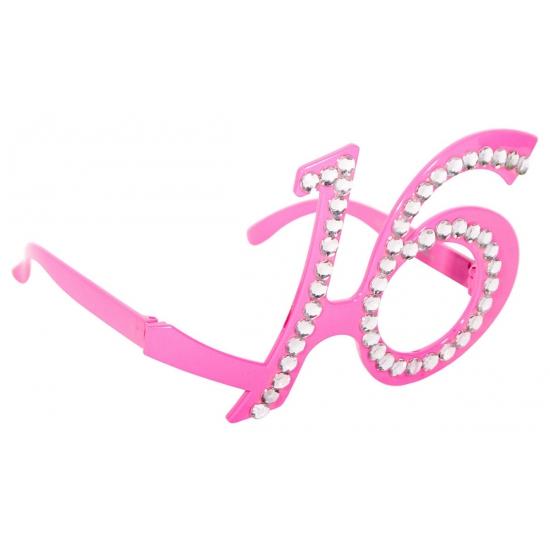 Bril met het getal 16 roze
