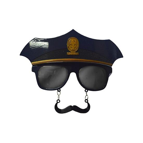 Bril met snor en politiepet
