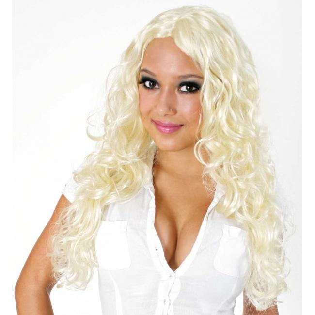 Britney pruik met blonde krullen