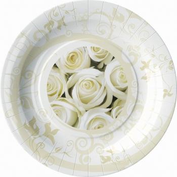 Bruiloft bordjes met witte rozen