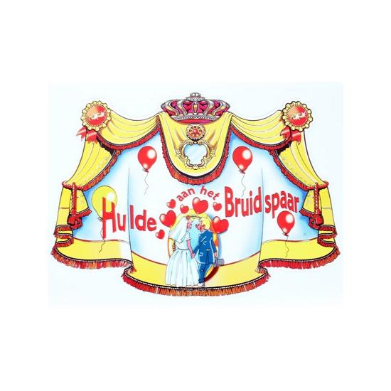 Bruiloft kroonschild karton hulde aan het bruidspaar