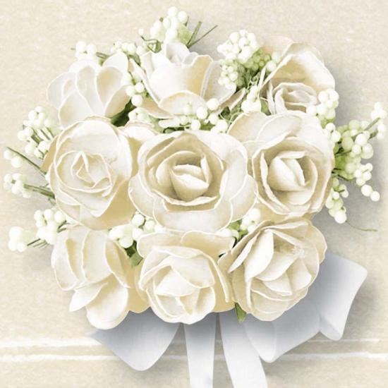 Bruiloft servetten met witte rozen 20x