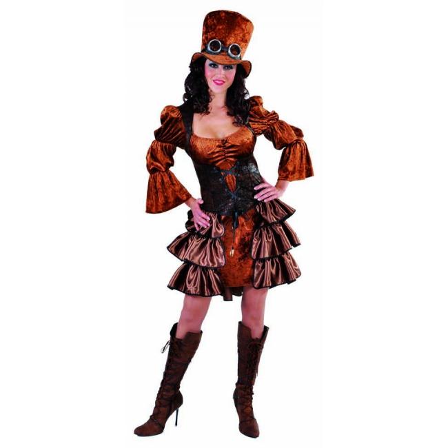 Bruine dames steampunk kleding