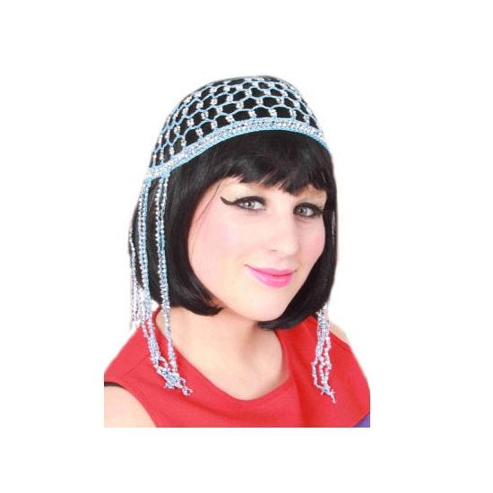 Buikdanseres blauw haarnetje met kralen