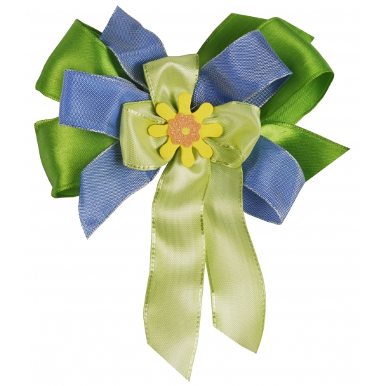 Cadeau strik van stof groen   blauw