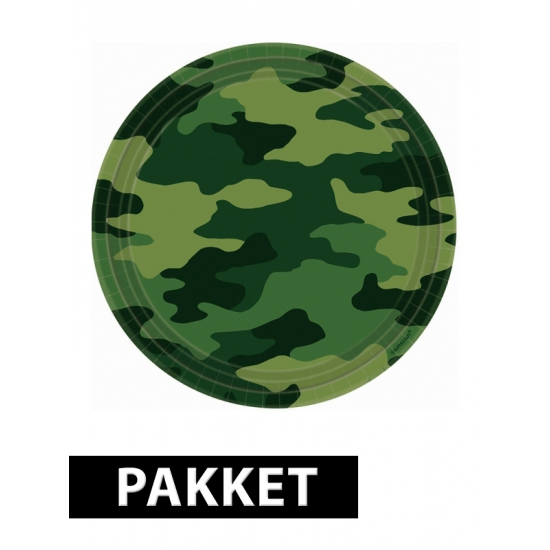 Camouflage kinderfeest pakket