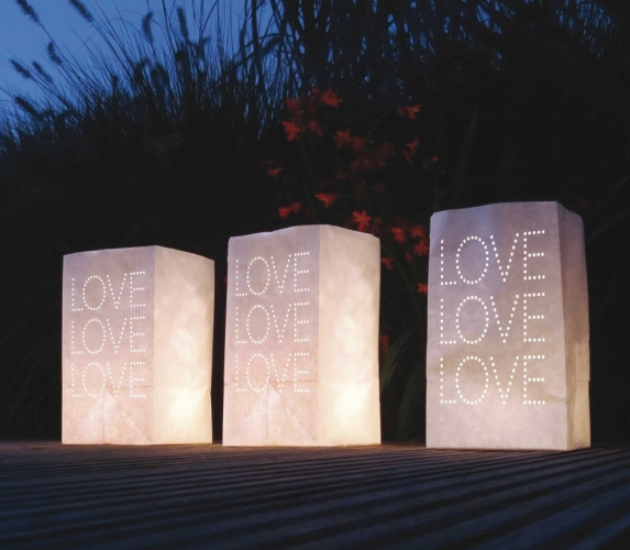 Candle Bags set wit met LOVE letters