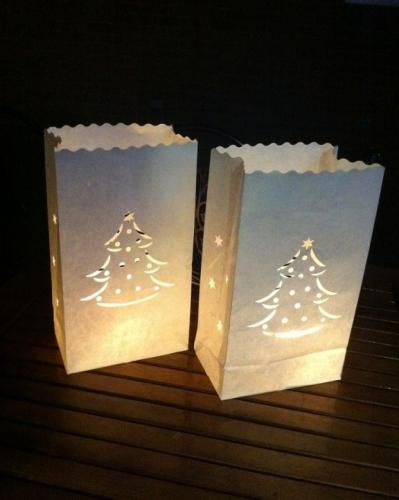Candle Bags wit met kerstboom sjabloon