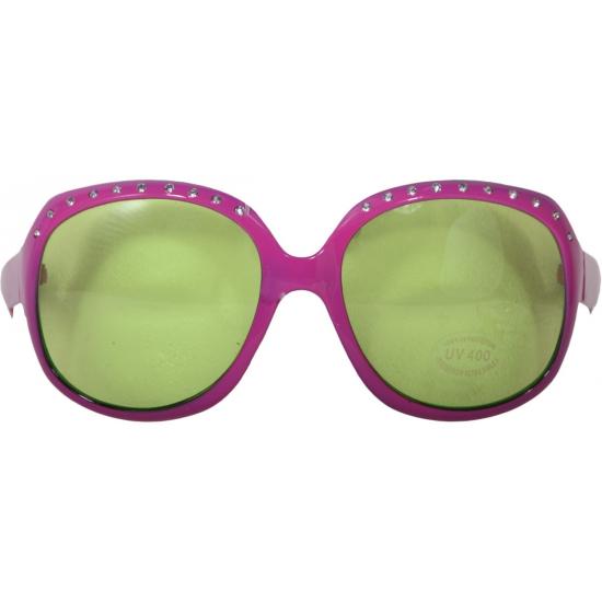 Carnaval brillen roze met groene glazen